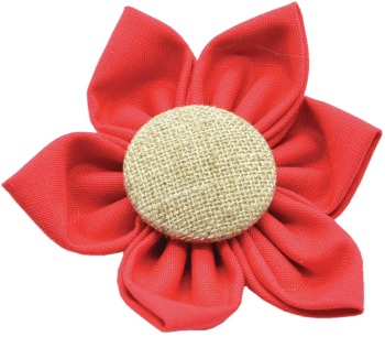 Red Flower with Burlap Button Center (DO-RDBFLWR)