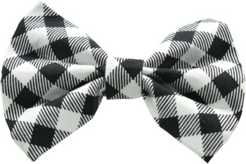 White & Black Buffalo Plaid Bow Tie (DO-WBUFFBOW)