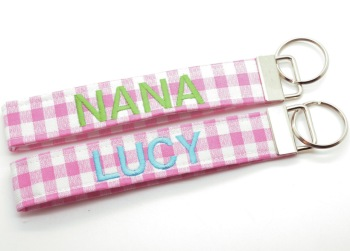 Light Pink Gingham Key Chain with Custom Embroidery (CU-LTPNKGINGKEY)