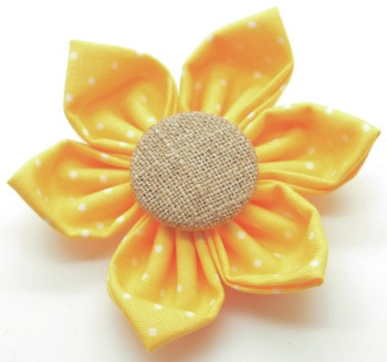 Yellow Dot Flower with Burlap Button Center (DO-YELLOWDOTBFLOWER)