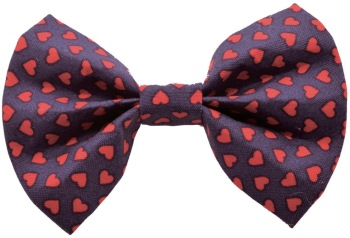 Navy with Red Hearts Bow Tie (DO-NAVYREDHEARTSBOW)