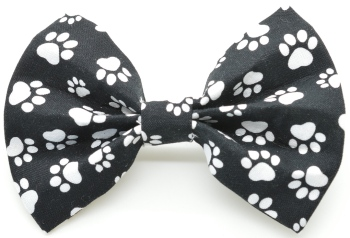 Black & White Paw Prints Bow Tie (DO-BLACKWHITEPAWBOW)