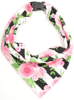 Pink Flowers Stripe Scarf (DO-FLOWERSTRIPESCRF)