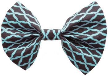 Turquoise & Black Quatrefoil Bow Tie (DO-TURQBLACKQUATBOW)