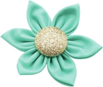 Teal Flower with Gold Button Center (DO-TLGFLWR)