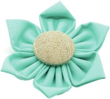 Teal Flower with Burlap Button Center (DO-TLBFLWR)