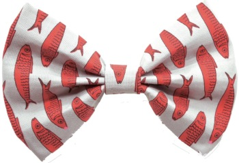 Gray Red Fish Bow Tie  (DO-GRYRDFISHBOW)