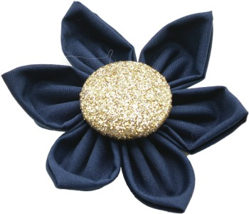 Navy Flower with Gold Button Center (DO-NVGFLWR)