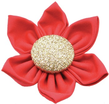 Red Flower with Gold Button Center (DO-RDGFLWR)